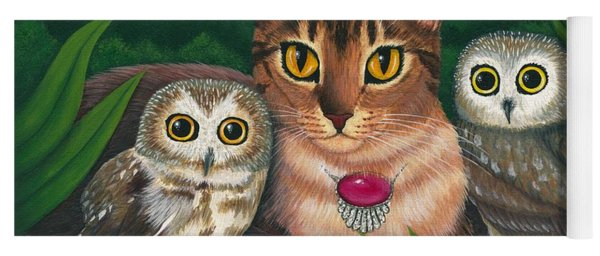 Midnight Watching - Abyssinian Cat Saw Whet Owls Yoga Mat