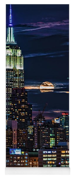 Yoga Mat featuring the photograph Midtown Supermoonrise by Chris Lord