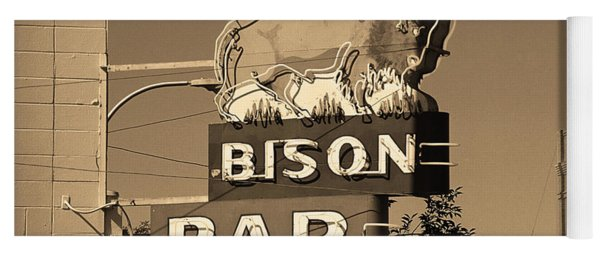 Miles City, Montana - Bison Bar Sepia Yoga Mat