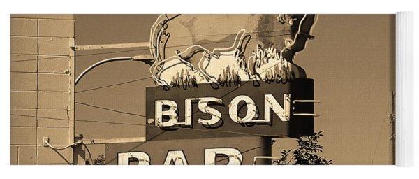 Miles City, Montana - Bison Bar Sepia Yoga Mat