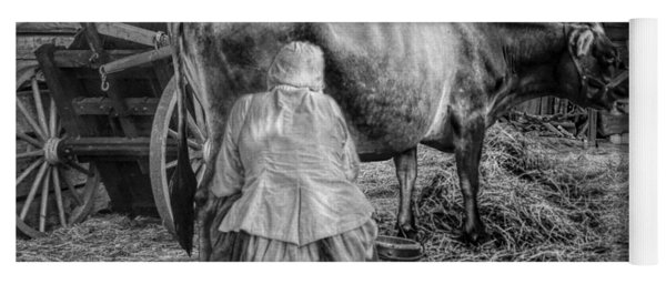 Milk Maid Milking A Cow In The Barn In Black And White Yoga Mat