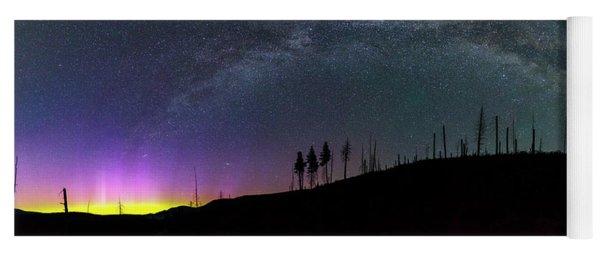 Milky Way And Aurora Borealis Yoga Mat