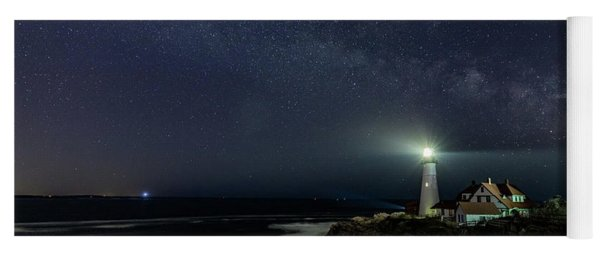 Milky Way At Portland Head Light Yoga Mat