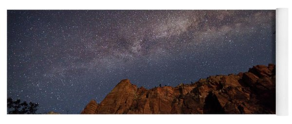 Milky Way Galaxy Over Zion Canyon Yoga Mat
