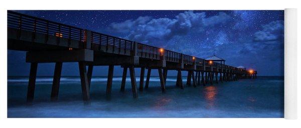 Milky Way Over Juno Beach Pier Under Moonlight Yoga Mat