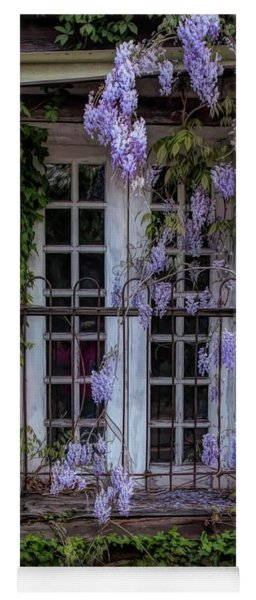 Yoga Mat featuring the photograph Mill Window Framed By Wisteria  by Kristia Adams