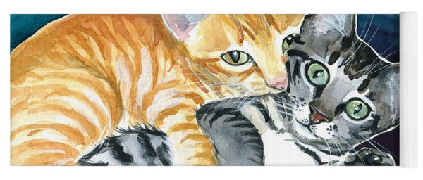 Milo And Tigger - Cute Kitty Painting Yoga Mat