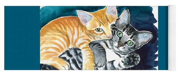 Milo And Tigger - Cute Kitty Painting Yoga Mat
