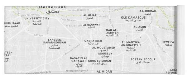 Minimalist Modern Map Of Downtown Damascus, Syria 2 Yoga Mat