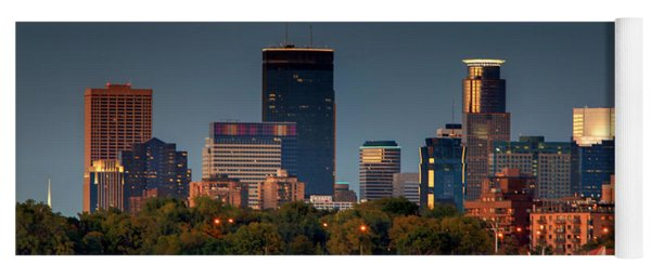 Minneapolis Skyline Photography Lake Calhoun Summer Evening Yoga Mat