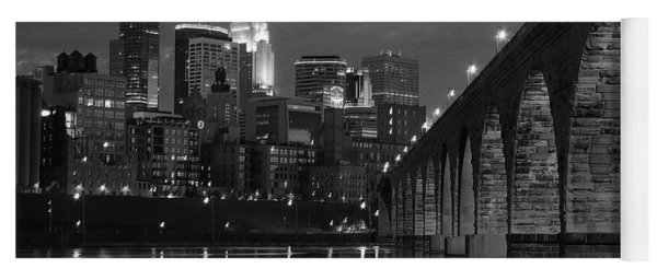 Minneapolis Stone Arch Bridge Bw Yoga Mat