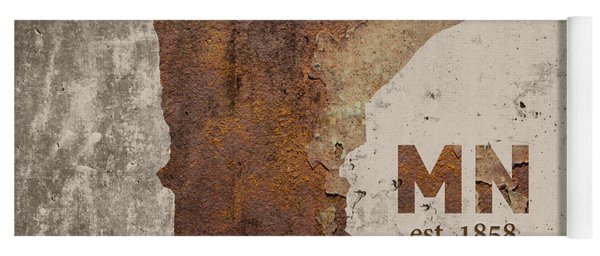 Minnesota State Map Industrial Rusted Metal On Cement Wall With Founding Date Series 036 Yoga Mat
