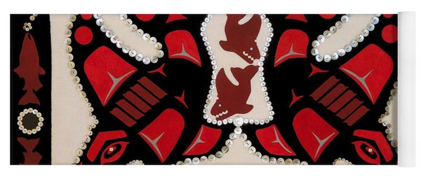 Yoga Mat featuring the tapestry - textile Mistamekwakii  - Whales - Northern Cree by Chholing Taha
