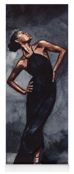 Misty Copeland Ballerina Dancer In A Black Dress Yoga Mat