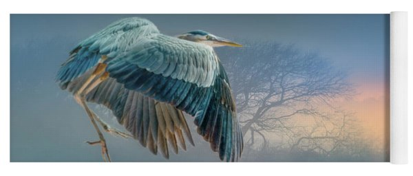 Misty Dawn Heron Yoga Mat