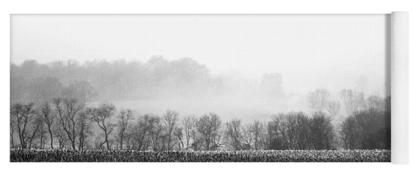 Yoga Mat featuring the photograph Misty Morning Farmland by Susan Maxwell Schmidt