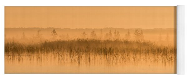 Yoga Mat featuring the photograph Misty Morning Floating Bog Island On Boy Lake by Patti Deters