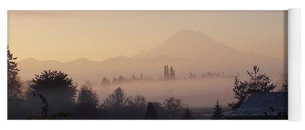 Misty Mt. Rainier Sunrise Yoga Mat