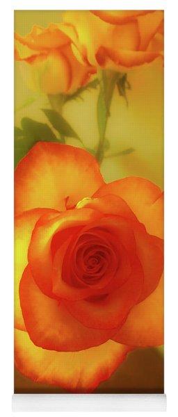 Misty Orange Rose Yoga Mat