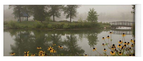 Misty Pond Bridge Reflection #3 Yoga Mat
