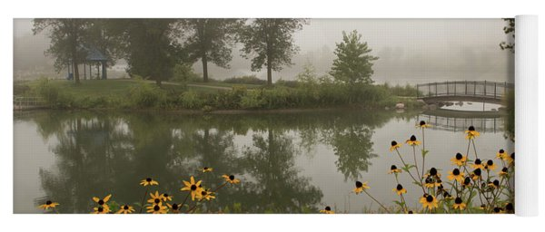 Yoga Mat featuring the photograph Misty Pond Bridge Reflection #3 by Patti Deters