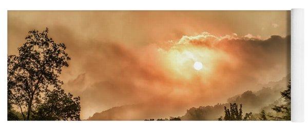 Misty Sunrise On The Mountain  Yoga Mat