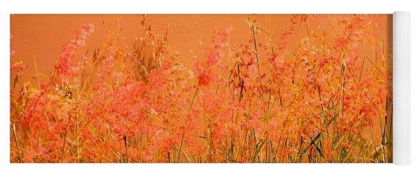 Misty Yellow Hue- Pink Blooms Yoga Mat