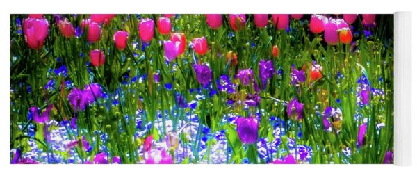 Mixed Flowers And Tulips Yoga Mat