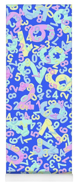 Modern Design With Random Colorful Numbers With Shadow Edges On A Blue Background  Yoga Mat