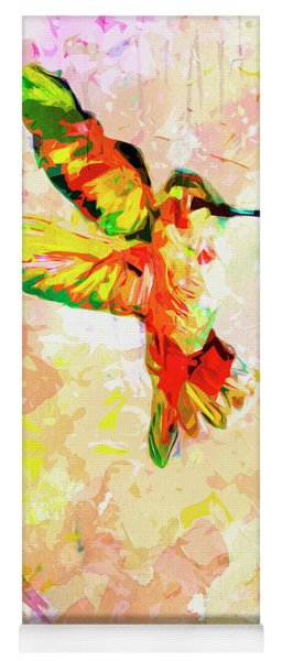 Yoga Mat featuring the mixed media Modern Expressive Hummingbird  by Ginette Callaway