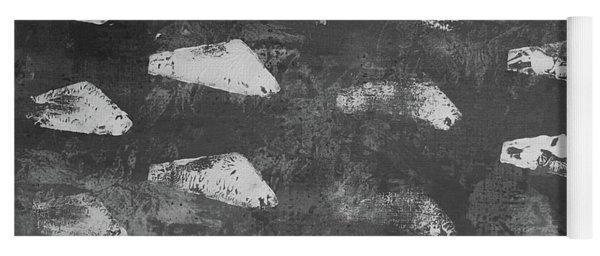 Yoga Mat featuring the painting Modern Fossil Grayscale by Robin Maria Pedrero
