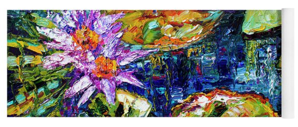Modern Impressionist Lily Pond Reflections Yoga Mat