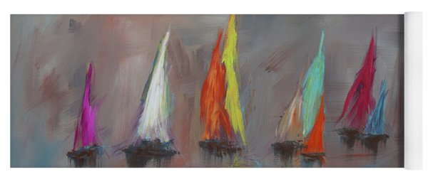 Modern Impressionistic Acrylic Painting Of Colorful Sailboats 5 Yoga Mat