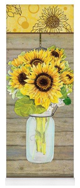 Modern Rustic Country Sunflowers In Mason Jar Yoga Mat