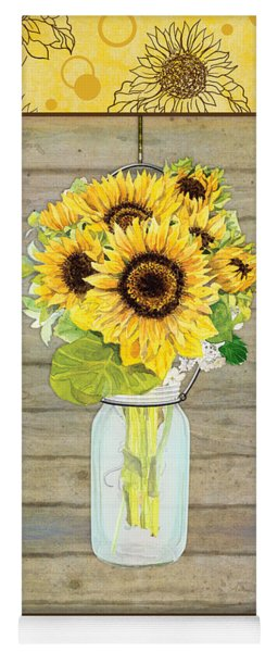 Modern Rustic Country Sunflowers In Mason Jar Yoga Mat