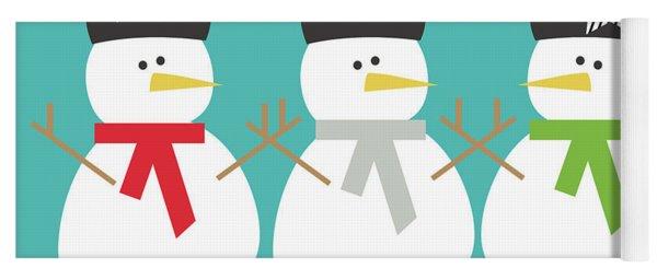 Modern Snowmen Happy Holidays- Art By Linda Woods Yoga Mat
