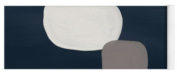 Modern Stones Navy 1- Art By Linda Woods Yoga Mat