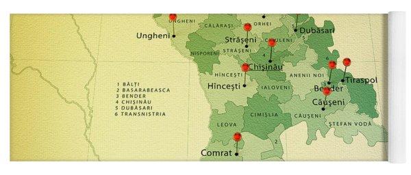 Moldova Map Square Cities Straight Pin Vintage Yoga Mat