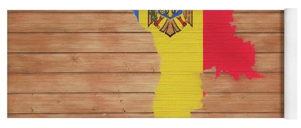 Moldova Rustic Map On Wood Yoga Mat