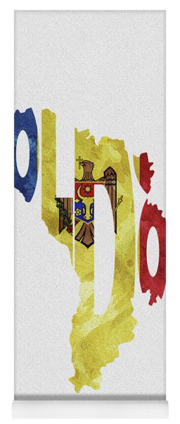 Moldova Typographic Map Flag Yoga Mat