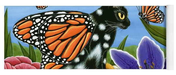 Monarch Butterfly Fairy Cat Yoga Mat