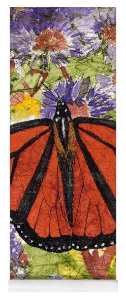 Monarch Butterfly On Purple Flowers Watercolor Batik Yoga Mat