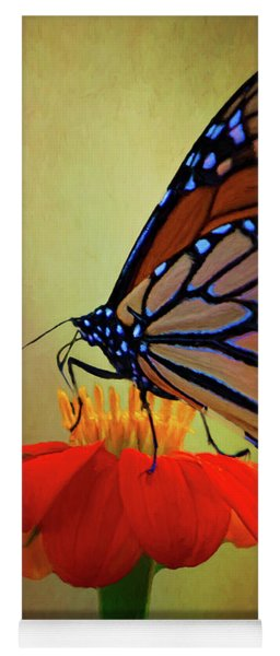 Yoga Mat featuring the photograph Monarch On A Mexican Sunflower by Chris Lord