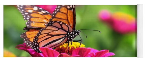 Monarch Visiting Zinnia Yoga Mat