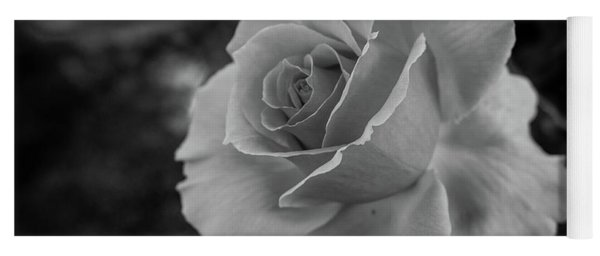 Monochrome Rose Macro Yoga Mat