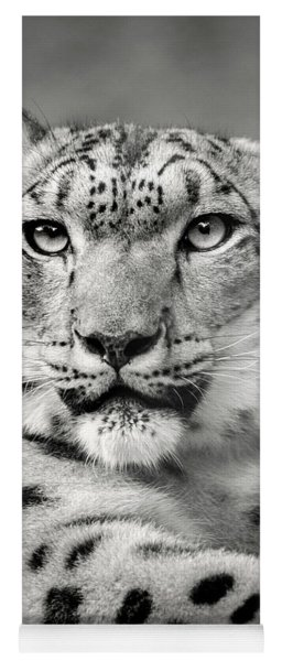 Monochrome Snow Leopard Stare Yoga Mat