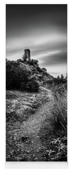 Monochrome Tower - Tower Of Caprona, Monochrome Long Exposure Yoga Mat