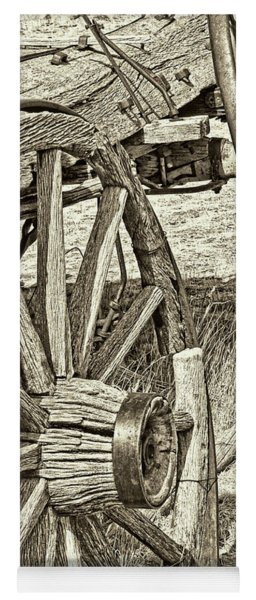 Montana Old Wagon Wheels In Sepia Yoga Mat