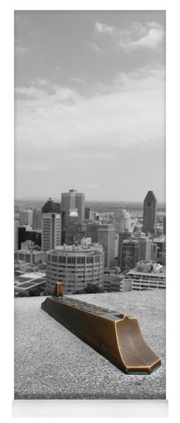 Montreal Cityscape Bw With Color Yoga Mat
