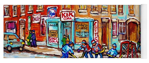 Montreal Storefront Paintings Debullion Street Hockey Art Quebec Winterscenes C Spandau Canadian Art Yoga Mat